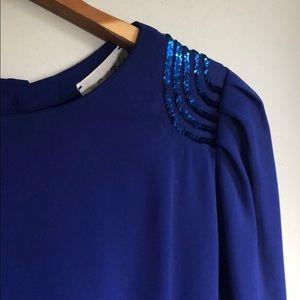 Vintage 90s Cobalt Blue Chiffon Dress